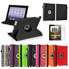 For iPad 4th 3rd 2nd Gen 4/3/2 360 Rotating Color Magnetic Case Cover Stand+Film