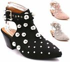 Womens Ladies Studded Slip On Buckle Ankle Strap Low Block Heel Western Boots Si