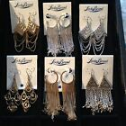 Lucky Brand Long Chain Dangle Earrings Many NEW Styles - Silver & Gold MSRP $39