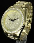 Iced Out Mens 14k Gold Plated Simulated Diamond Hip Hop Techno Pave 45mm Watch image