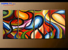 Large Abstract Oil Painting on Canvas Contemporary Wall Art Flow Colorful Decor