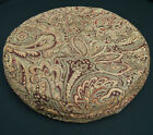 We601r Paisley Leaf Chenille Round Box Shape Sofa Seat Cushion Cover*Custom Size