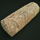 We601g Paisley Leaf Tan Chenille Bolster Cover Yoga Neck Roll Case*Custom Size