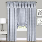 Gray Checkered Plaid Gingham Kitchen Window Curtain Drapes Panel Valance Shade