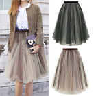 Womens Elastic Waist Ballet Tulle Midi Causal Tutu Skirt Dress Wedding Party US