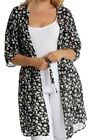 Ladies Womens Plus Size Floral Printed Belted 3/4 Sleeve Long Chiffon Kimono