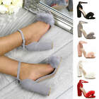 WOMENS LADIES HIGH BLOCK HEEL ANKLE STRAP FLUFFY FUR SANDALS PEEP TOE SHOES SIZE