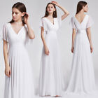 Ever-Pretty UK Long Cap Sleeve Bridesmaid Dresses White Evening Party Gown 09890