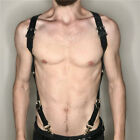 Mens Leather Harness Body Chest Armor Buckles Adjustable Strap Belt Club Costume