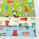 50x160cm Cotton Twill Fabric DIY Material for Bedding Clothing Dog in Dress J8 S