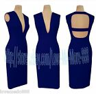 Womens Club Party Cocktail PLUNGE Deep V Open Back Long Bodycon Dress BLUE S-2XL