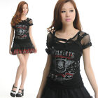 GLP 71016 PUNK VISUAL GOTHIC VEST+NET TWINSET SHIRT TOP BLK