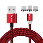 1M 2M Round Magnetic USB Plug Fast Charging Charger Cable Lead For Cell Phones