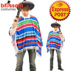 CSW60 Mexican Poncho Multicolour Mens Fancy Dress Costume Wild West Amigo Cowboy