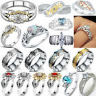 Stainless Steel Engagement Gem Ring Titanium Silver Wedding Rings Women Lot