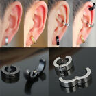 Non-Piercing Clip On Fake Mens Boy Ear Stud Cuff Hoop Earrings Stainless Steel image