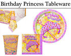 Birthday Princess Party Tableware - Plates, Napkins, Cups & Tablecover