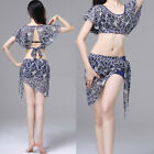 2018 Sexy Adult Belly Dance Costumes 2Pics Short Sleeve Backless Top&Skirt M L