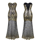Angel fashions Women's Vintage 1920s Gatsby Flapper Golden Sequin Dress 042