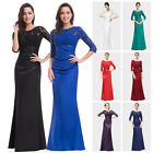 Ever-pretty Long 3/4 Sleeve Lace Formal Evening Party Dresses Formal Prom 09882