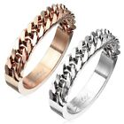 Stainless Steel Half Circle Cuban Chain Band Ring Size 5-13 Silver or Rose Gold