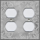 Metal Light Switch Plate Cover Watercolor Art Decor White Floral Framed Grey