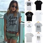 Womens Letter Blouse T-Shirt Short Sleeve Casual Loose Tops Summer Plus Size
