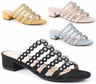 WOMENS FAUX LEATHER LOW BLOCK HEEL PEEP TOE STUDS SLIP ON CASUAL MULES SANDALS