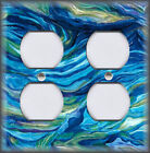Metal Light Switch Plate Cover Blue And Green Swirls Abstract Art Home Decor