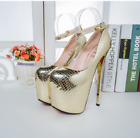 Sexy Women's Sequins High Platform Heel Ankle Strap Stiletto Nightclub Shoes UK5