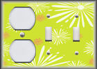 Metal Light Switch Plate Cover Fireworks Pattern Decor Lime Green Home Decor