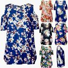 Womens Ladies Cut Out Cold Shoulder Floral Printed Oversized Short Sleeve Top