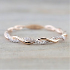 Unisex 18K Rose Gold Plated Silver Plated White Sapphire Wedding Jewelry Ring image