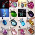 Fashion 925 Silver Sapphire Crystal Gem Pendant For Necklace Women Jewelry Gift