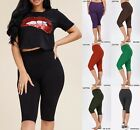 Внешний вид - Yoga Gym BIKER SHORT Cotton LOT 1 OR 5 CAPRI Leggings Active Wear MISS PLUS SIZE