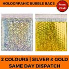 Holographic Metallic Bubble Envelope Bags Foil Padded Shiny Postal Silver Pouch