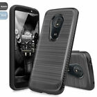 For Motorola Moto G6 Play Brushed Armor Rubber Phone Case+Black Tempered Glass
