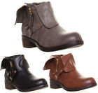 12686 Womens Ladies Short Fold Over Cut Out Biker Ankle Boot Grey Quality Sole F