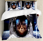 Cat in Cosmonaut Outer Space Clothes in Cosmos Travel with Rocket Duvet Set