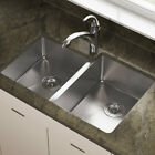 "MR Direct Stainless Blade 31"" x 21"" Double Basin Undermount Kitchen Sink"
