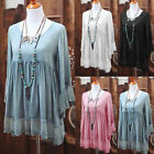 Women Bohemina Flare Sleeve Fold Blouse Loose Lace Patchwork Tunic Shirt Tops