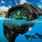 SKMEI Men's Waterproof Sport Army Alarm Date Analog Digital Black Wrist Watch image