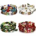 Multilayer Natural Stone Agate Crystal Bangle Lady Party Beaded Bracelet Jewelry