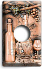 TUSCAN WINE BOTTLES GRAPES COPPER PATINA LOOK LIGHT SWITCH OUTLET WALL PLATE ART