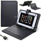 "US For 7"" 8"" 10"" 10.1"" Tablets Black Protective Leather Case USB Keyboard Cover"