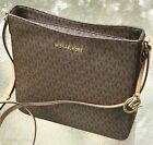 NEW MICHAEL KORS MK SIGNATURE BROWN  JET SET TRAVEL MESSENGER BAG or  WALLET