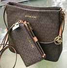 Внешний вид - NEW MICHAEL KORS MK SIGNATURE BROWN  JET SET TRAVEL MESSENGER BAG or  WALLET