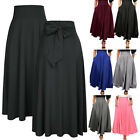 Women High Waist Pleated A Line Long Skirt Front Slit Belted Party Maxi Dress