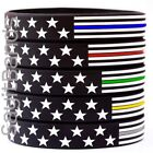 Внешний вид - 1 Thin Line USA Flag Wristband bracelet - Pick Blue, Red, Green, Yellow, or Gray