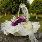Внешний вид - Wedding Romantic Satin Bowknot Flower Girl Basket for Ceremony Party Ivory Decor